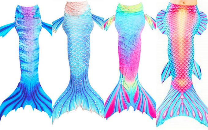 Beauty Flower Fin Swimmable Mermaid Tails For Girls , High Elasticity Fabric Mermaid Tail